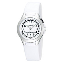 Buy Lorus R2309FX9 Children's Sports Rubber Strap Watch, White Online at johnlewis.com