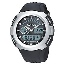 Buy Lorus R2325DX9 Men's Sports Digital Chronograph Rubber Strap Watch, Black/Silver Online at johnlewis.com