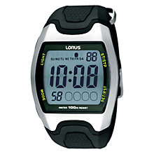 Buy Lorus R2335EX9 Men's Rectangular Digital Rubber Strap Sports Watch, Black Online at johnlewis.com