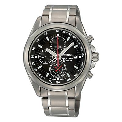 Seiko SNDC93P1 Men's Titanium Chronograph Bracelet Strap Watch, Grey Silver