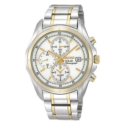 Buy Seiko SSC002P1 Men's Chronograph Solar Alarm Bracelet Watch, Silver Online at johnlewis.com