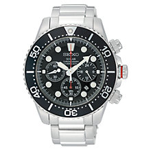 Buy Seiko SSC015P1 Men's Solar Chronograph Diver Bracelet Watch, Silver Online at johnlewis.com