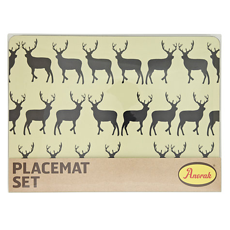 Buy Anorak Kissing Stags Placemats, Set of 4 Online at johnlewis.com