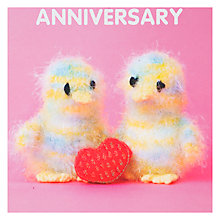 Buy Mint Knitted Duckilngs with Heart Anniversary Card Online at johnlewis.com