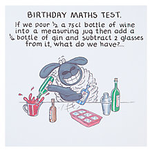 Buy Paperlink Maths Test Birthday Card Online at johnlewis.com