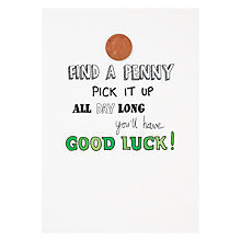 Buy Woodmansterne 'Find A Penny' Good Luck Card Online at johnlewis.com