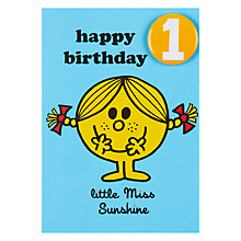 Buy Little Miss Sunshine Birthday Card, Age 1 Online at johnlewis.com