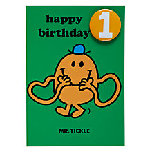 Buy Hype Mr Tickle Birthday Card, Age 1 Online at johnlewis.com