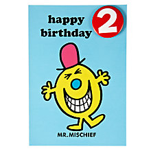 Buy Hype Mr Mischief Birthday Card, Age 2 Online at johnlewis.com