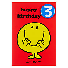 Buy Hype Mr Happy Birthday Card, Age 3 Online at johnlewis.com