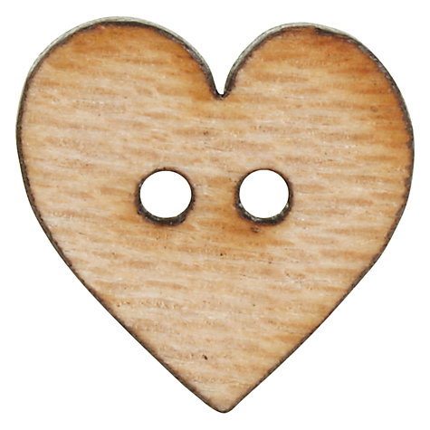 Buy John Lewis Wood Heart Button, 15mm, Natural Online at johnlewis.com