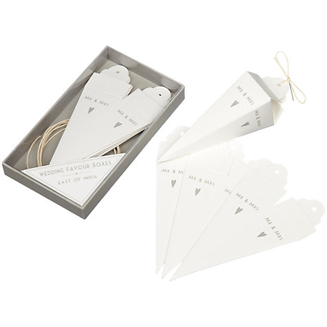 Buy East of India Mr & Mrs Wedding Favour Cone Boxes, Pack of 8 Online at johnlewis.com