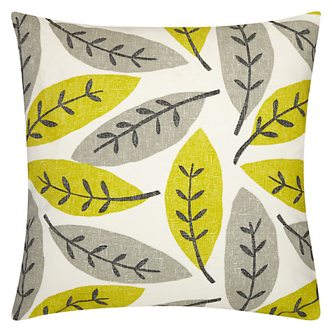 Buy Sanderson Block Leaf Cushion, Green Online at johnlewis.com