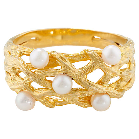 Buy London Road Burlington 9ct Yellow Gold and Pearl Willow Ring, Gold Online at johnlewis.com