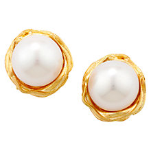 Buy London Road Burlington 9ct Yellow Gold and Single Pearl Willow Stud Earrings Online at johnlewis.com