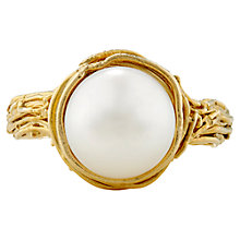Buy London Road Burlington 9ct Yellow Gold Willow Single Pearl Ring, N Online at johnlewis.com