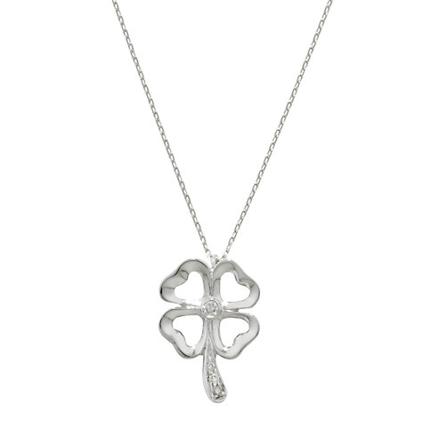 Buy London Road 9ct White Gold and Diamond Set Clover Pendant Necklace, Silver Online at johnlewis.com