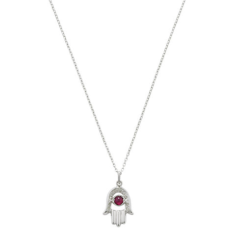 Buy London Road 9ct White Gold Diamond and Ruby Hand Of Fatima Pendant Necklace Online at johnlewis.com