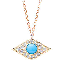 Buy London Road Enchanted Evil Eye 9ct Yellow Gold Diamond Turquoise Pendant Necklace, Gold Online at johnlewis.com