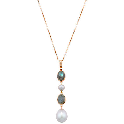 Buy EWA Burlington 9ct Rose Gold Labradorite and Pearl Drop Pendant Necklace Online at johnlewis.com