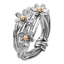 Buy Linda Macdonald Gold Detail Flower Ring, Silver Online at johnlewis.com