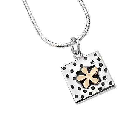 Buy Linda Macdonal Spotty Square Gold Flower Necklace, Silver Online at johnlewis.com