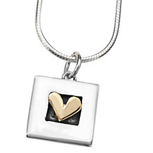 Buy Linda Macdonald Square Raised Gold Heart Pendant Necklace, Silver / Gold Online at johnlewis.com
