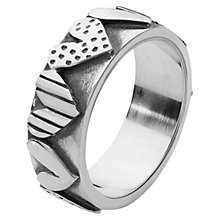 Buy Linda Macdonald Stripe Spot Heart Ring, Silver Online at johnlewis.com