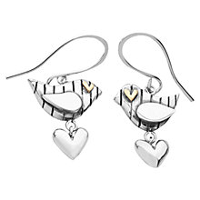 Buy Linda Macdonald Stripey Bird Goldeye Drop Earrings, Silver / Gold Online at johnlewis.com