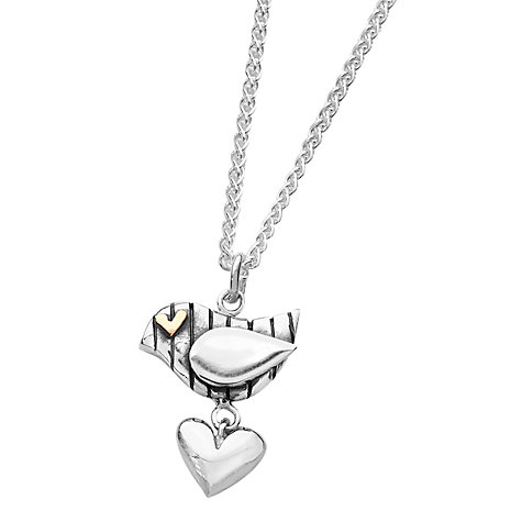 Buy Linda Macdonald Stripey Bird Goldeye Heart Pendant Necklace, Silver / Gold Online at johnlewis.com