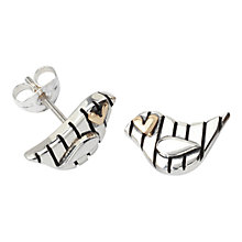 Buy Linda Macdonald Stripey Bird Goldeye Stud Earring, Silver / Gold Online at johnlewis.com