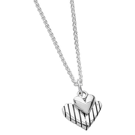 Buy Linda Macdonald Stripey Heart Pendant Necklace, Silver Online at johnlewis.com