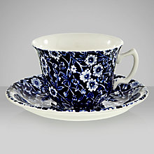 Buy Burleigh Blue Calico Teacup and Saucer Online at johnlewis.com