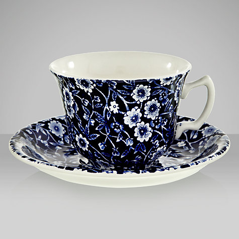Buy Burleigh Blue Calico Tea Cup and Saucer, 0.185L, Blue Online at johnlewis.com