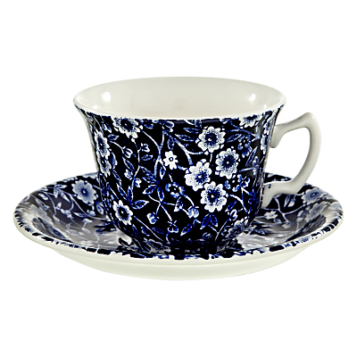Burleigh Blue Calico Tea Cup and Saucer, 0.185L, Blue