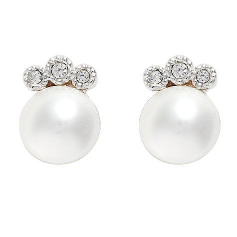Buy Cachet London Crystal Setting Pearl Stud Earrings, White Online at johnlewis.com