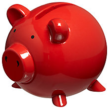 Buy John Lewis Piggy Bank, Red Online at johnlewis.com