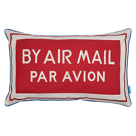 Buy little home at John Lewis Happy Landings Par Avion Cushion, Red Online at johnlewis.com