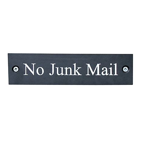 Buy ashortwalk No Junk Mail Sign, Slate Black Online at johnlewis.com