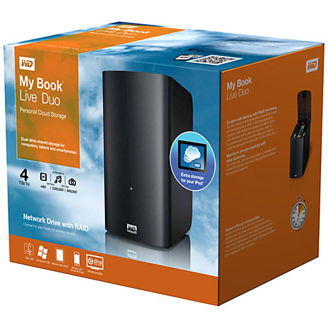 Buy WD My Book Live Duo Personal Cloud Storage, Dual Network Attached Storage Drives, 4TB Online at johnlewis.com