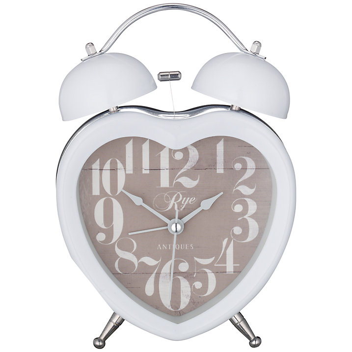 Buy London Clock Heart Twin Bell Clock, White Online at johnlewis.com