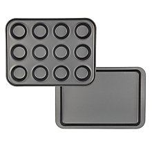 Buy John Lewis Baking Sheet and 12 Cup Bun Tray Set Online at johnlewis.com
