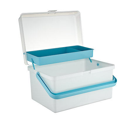Buy John Lewis Baby Box, Pearl White/Aqua Online at johnlewis.com