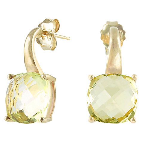 Buy Dower & Hall 18ct Vermeil Faceted Lemon Quartz Drop Earrings, Gold / Lemon Online at johnlewis.com