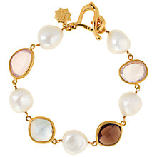 Buy Dower & Hall 18ct Gold Vermeil Gemstone Pearl Bracelet, Natural Online at johnlewis.com