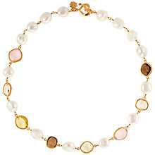 Buy Dower & Hall 18ct Vermeil Gemstone Pearl Necklace, Gold / Multi Online at johnlewis.com