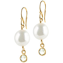 Buy Dower & Hall 18ct Vermeil Pearl Lemon Quartz Drop Earrings, Gold / Pearl Online at johnlewis.com