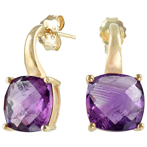 Buy Dower & Hall 18ct Vermeil Amethyst Drop Earrings, Gold / Purple Online at johnlewis.com