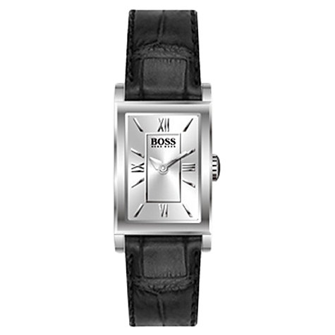 Buy Hugo Boss 21502280 Women's Rectangular Steel Leather Strap Watch, Black Online at johnlewis.com