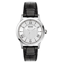 Buy BOSS 21502281 Men's Round Steel Dial Leather Strap Watch, Black Online at johnlewis.com